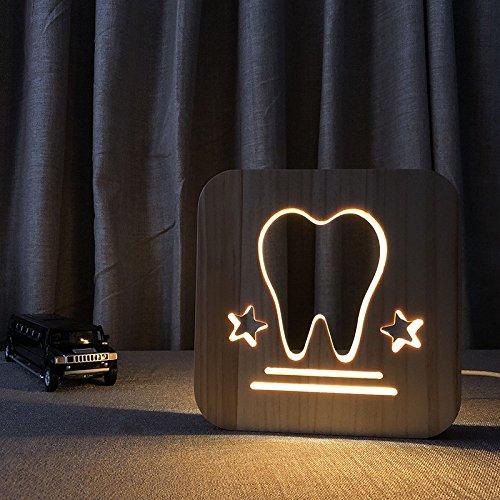 Creative Shape Night Light Electronic Light 3D Night Light Wood Light Warm...