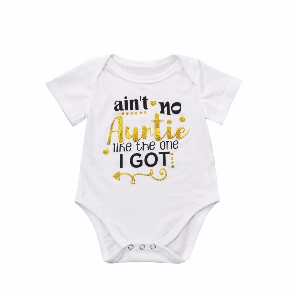 Pollyhb Baby Girl Boy Romper, Newborn Toddler Baby Girls Boys Letter Print Rompers Jumpsuit Outfit(0-18 Months)