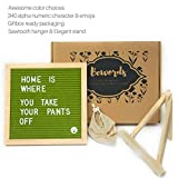 Bewords Changeable Letter Board 10 x 10 with Felt Board Letters, Mounting Hook, Easel Stand - Letter Board Sign in Green - Felt Letter Board Set for Home Business Marketing (Green)