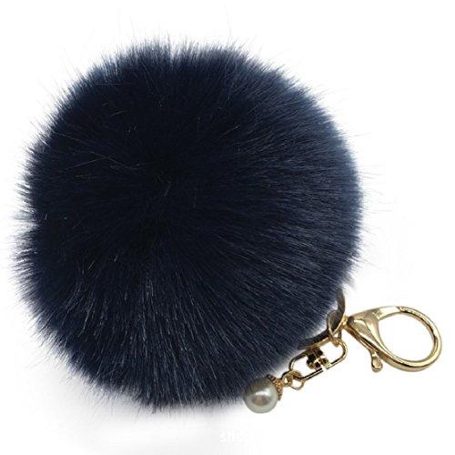 (Amiley Fluffy Faux Rabbit Fur Ball Charm Pom Pom Car Keychain Handbag Key Ring (Navy))