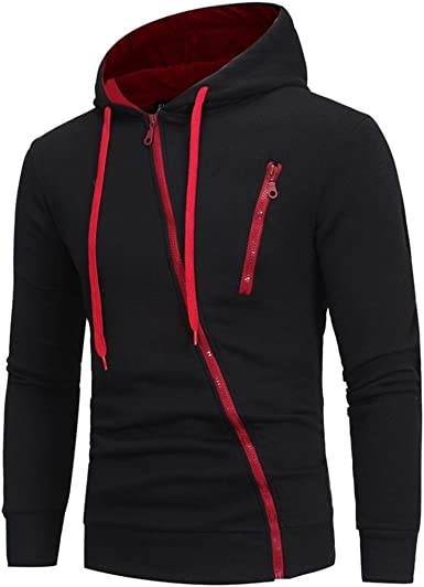 New Design Mens Hoodies Side-zipper Long Sleeve Diagonal Zipper Hood Sweatshirts