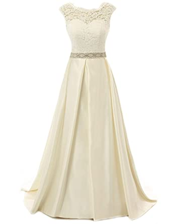 ef0fefb26db5 Wedding Dress for Bride Lace Bride Dresses Backless Wedding Gown with  Crystal Sash A line Champagne