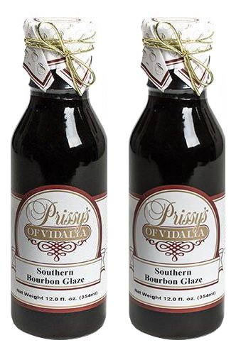 Prissy's of Vidalia Southern Bourbon Sweet Glaze, 12 Fl Oz (Pack of 2)