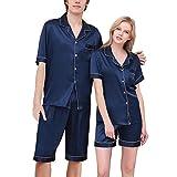 Couples Men's Women's Satin Short Pajama Sets Men Dark Blue Tag 3XL - Large