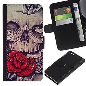 ZCell / Apple Iphone 6 / Rose Skull Red Vignette Sword Rock / Caso Shell Armor Funda Case Cover Wallet / Rose cráneo rojo Vignette Espada