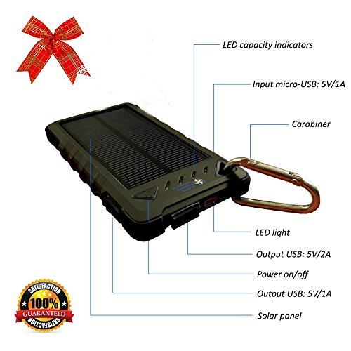 Cell Phone Charger - Solar & Plugin - 8000mah Dual USB - Best of Portable Battery Chargers - Rugged Shock Dust Waterproof for iPhone Sprint Lg Htc Android Samsung Nokia Motorola & USB devices (BLACK) -
