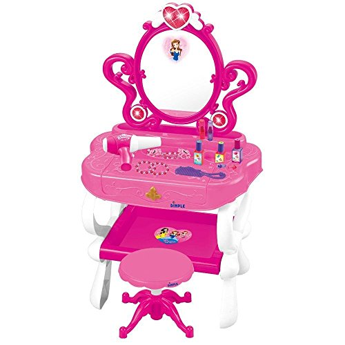 Childrens Vanity Set (Princess Vanity Set Girls Toy with 16 Fashion & Makeup Accessories, Functional Piano Keyboard & Flashing Lights, Great for Kids & Toddlers by Dimple (Batteries)