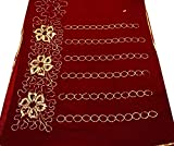 Vintage Sari Indian Maroon Sarong Drape Sequins Embroidered Fabric Used DIY Craft Supply Women Wrap Sarong Dress 5Yd Art