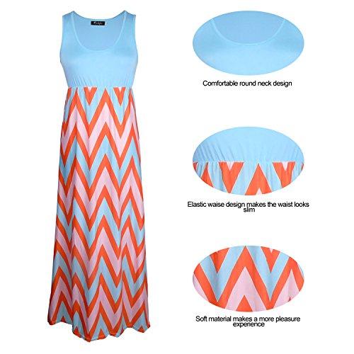 Boho Empire Tank Chevron Aifer Dress Dresses Beach Blue Striped Long Top Womens Maxi a5qSwxSUng