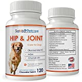 Glucosamine for Dogs 800mg Advanced Hip and Joint Supplement with MSM Chondroitin and Vitamins C & E - 120 Beef Flavoured Chewable Tablets - Arthritis Pain Relief and Mobility