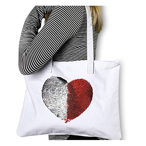 Mermaid Reversible Sequin Heart Canvas Tote {Red & Silver} Funky Monkey Fashion