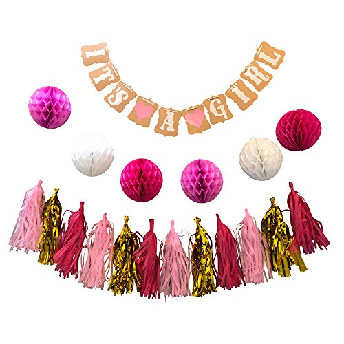 Baby Shower Girl Decorations Wall Kit Props Display,(It's a Girl) Banner, Red/White/Pink Paper Honeycomb Balls Flowers & Gold Tassels, Photos, Party Supplies - for Newborns - Products Central