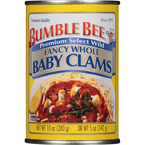 BUMBLE BEE Fancy Whole Baby Clams, High Protein Food, Keto Food and Snacks, Gluten Free Food, High Protein Snacks, Canned Food, Bulk Tuna, 10 Ounce Cans (Pack of 12) ()