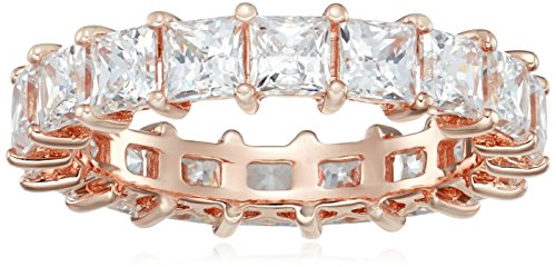 Rose-Gold-Plated Sterling Silver Princess Cut All-Around Band Ring made with Swarovski Zirconia (5 cttw), Size 6 ()