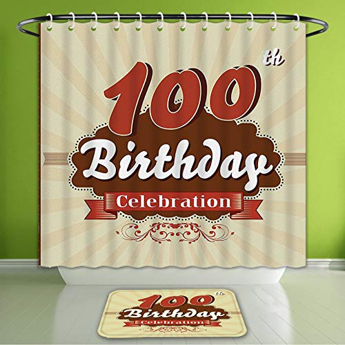 Waterproof Shower Curtain and Bath Rug Set 100Th Birthday Decorations Chocolate Wrap Like Brown Party Invitation Hundred Years Cinnamon an Bath Curtain and Doormat Suit for Bathroom 60