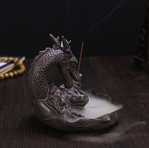 Gift Prod Incense Smoke Flow Backflow Holder Dragon Incense Holder Dragon Backflow Ceramic Backflow Incense Tower Burner Statue Figurine Incenses Not Included (Style 1) by Giftprod (Image #2)