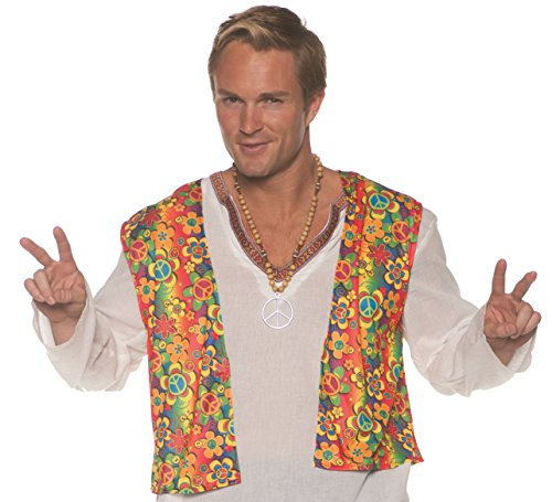 (Underwraps Men's 1960s Retro Hippie Costume Vest, Multi Double)