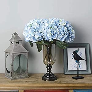 Jasion Artificial Flowers Hydrangeas Flowers 5 Big Heads Silk Bouquet for Office Home Party Decoration (Light Blue) 40
