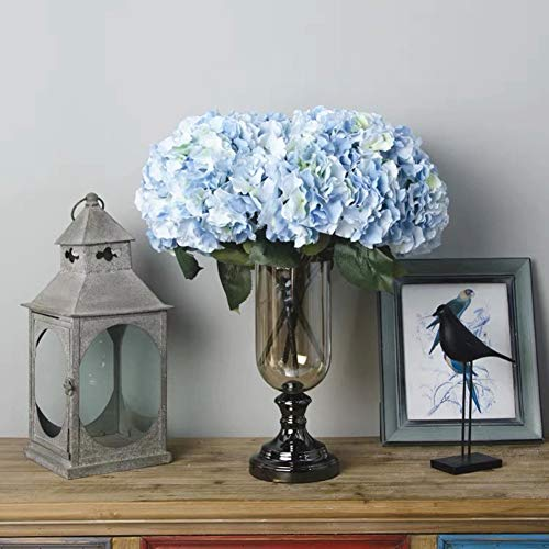 (Jasion Artificial Flowers Hydrangeas Flowers 5 Big Heads Silk Bouquet for Office Home Party Decoration (Light Blue))