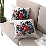 cobeDecor Fire Truck Throw Pillowcases Powerful Engine Vehicle Zippered Pillow Covers 18'x18'x2pack