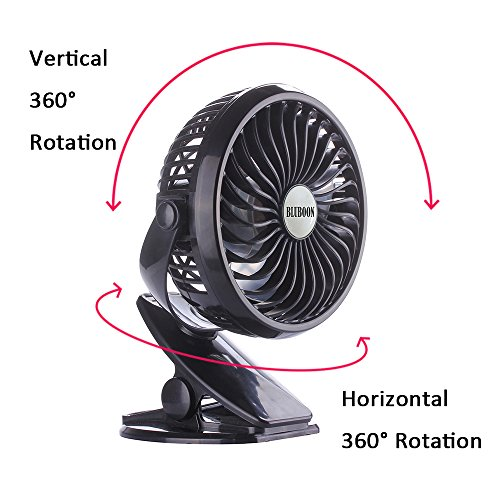 BLUBOON Clip on Fan Battery Operated Fan Portable for Baby Stroller 5'' (Two Batteries, one for Backup) by BLUBOON (Image #2)
