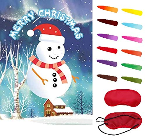 Ocosy Pin The Nose on The Snowman Game Christmas Party Game Christmas Party Favors Christmas Decorations (Snowman) -