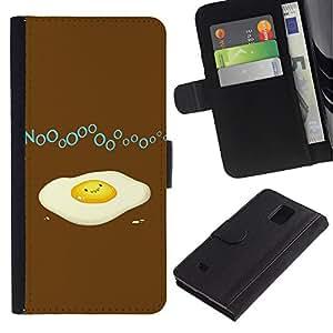 LASTONE PHONE CASE / Lujo Billetera de Cuero Caso del tirón Titular de la tarjeta Flip Carcasa Funda para Samsung Galaxy Note 4 SM-N910 / Funny Broken Egg