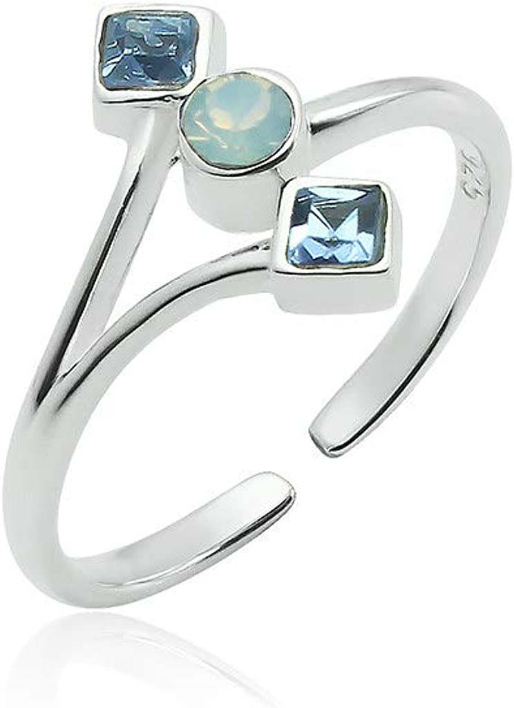 Big Apple Hoops - Adjustable Little Cute Toe Ring with 3 Color Crystals Green, Blue or Black Made from Real Solid 925 Sterling Silver with Protective Electrocoated Finish for Maximum Anti-Tarnish