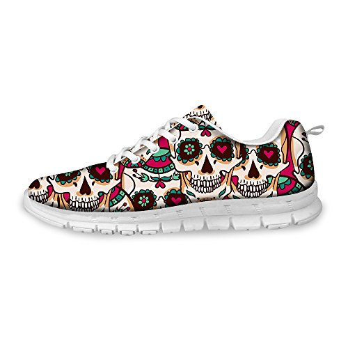 (FOR U DESIGNS Sweet Pink Skull with Peach Heart Creative Print Light Weight Mesh Running Shoes for Women US 7 )