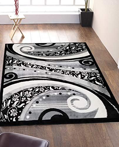 SavaHome 1843_BLC_BNE 5 feet by 7 feet Decorative Black and White Area Rug Designer's Choice Extremely Durable Stain Resistant Smooty Cozy Pet Friendly, Impressed Rich - Micro Rug Hooked Wool