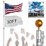30 ft telescoping pole - Koval Inc. Aluminum Telescoping Flagpole Kit with US Flag (30FT Telescopic Flag Pole)