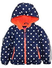 Pink Platinum Little Girls Polka Dot Active Hooded Jacket Spring Coat, Navy, 2T