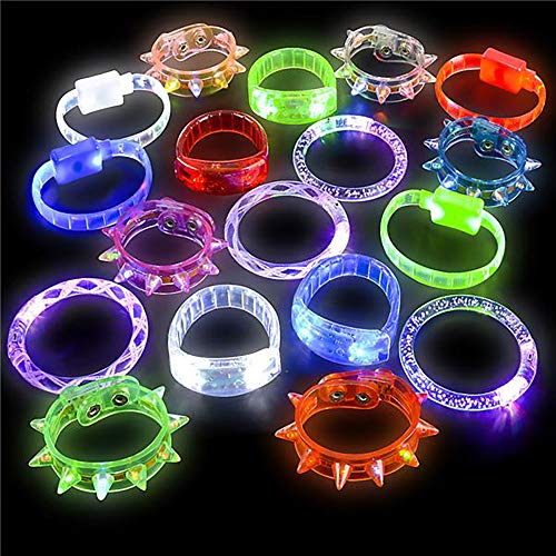 "Kicko 8"" Light-Up LED Bracelet - 24 Pieces Glow in The Dark Fashionable Party Supply Pack - Toy Assortment, Flashing Bands for Rewards, Prizes, Giveaways, Night Parties, Clubbing"