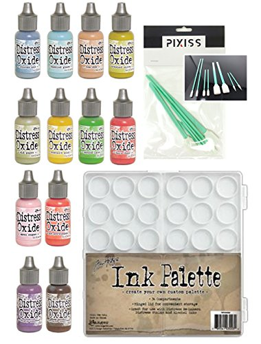 Tim Holtz Oxide Ink Reinkers Summer 2018 Colors with Palette and 8 Pixiss Blending Tools (Tim Holtz Ink Palette)
