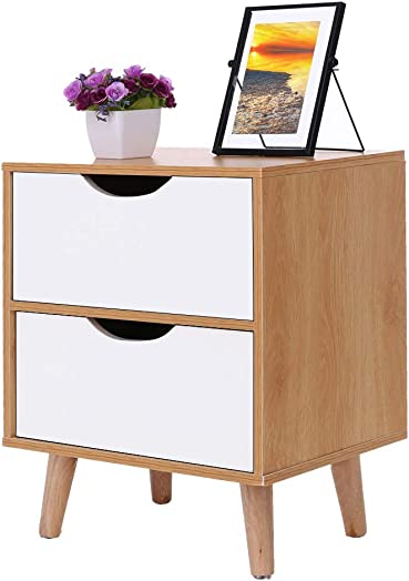 Hohaski Nordic Pine Color White Stylish Assemble Cabinet Bedroom Bedside Locker Drawer Nightstand Simple Modern Imitation Wood Storage Simple Economy Storage Chest Ship from US 40x30x50cm