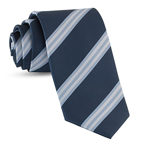 Handmade Striped Ties For Men Skinny Woven Slim Light Navy Blue Mens Stripes Tie: Thin Necktie, Stylish Neckties For Every Outfit