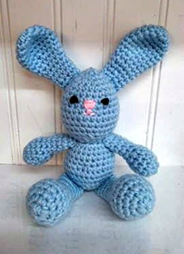 Crochet 8 Stuffed Amigurumi Blue Bunny Rabbit Animal Plush Child Toy Collection Handmade, Easter, Holiday Gift