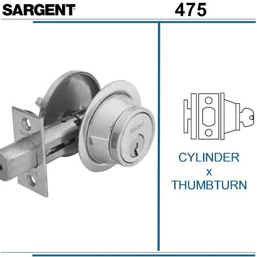 SARGENT 475-26D CYLINDER X THUMBTURN, GRADE 2 DEABOLT: SATIN CHROME by Sargent