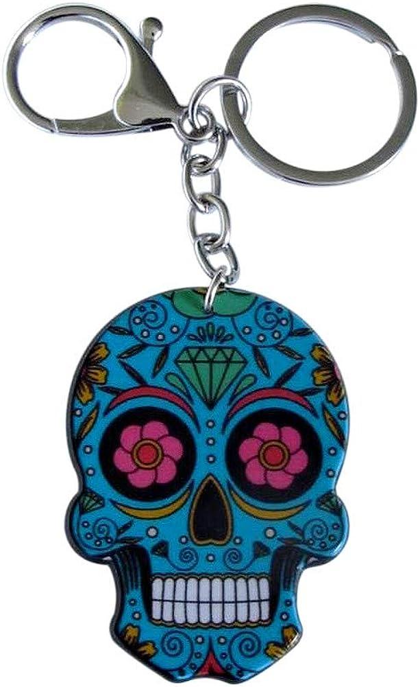 Llavero de calavera azul estilo mexicano con mosquetón ...