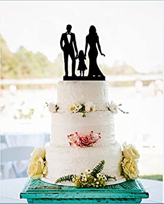 Family Silhouette Wedding Cake Topper with Girl, Bride and Groom Cake Topper