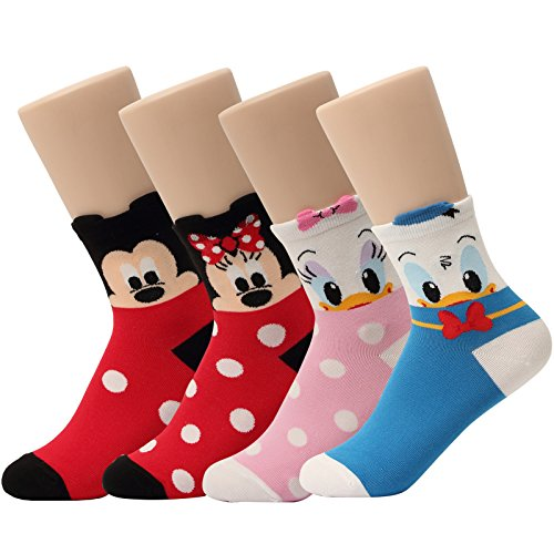 Disney Pixar Licensed Girls Socks Crew Ankle No Show Boy(Toddler,Little Kid,Big Kids) (B.4pairs-Crew Socks, Medium(Shoe Size 9-12))