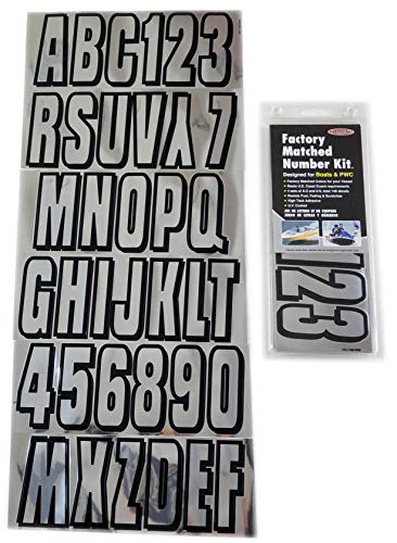 Hardline Products Series 320 Factory Matched 3-Inch Boat & PWC Registration Number Kit, Chrome/Black (Renewed)