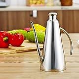 850ml Stainless Steel Oil Can Dispenser Drum-shape Cruet Set Soy Sauce Vinegar Oil Bottle Pot with Leak-Proof Design