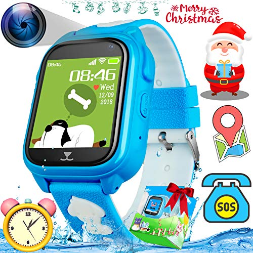 Waterproof Kids Smart Watch Phone with GPS Tracker Watch for Boys Girls Christmas Gifts Kids SmartWatch Cell Phone SOS Anti-Lost Camera Game Pedometer Outdoor Sport Wrist Watch Bracelet, -
