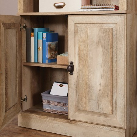 Crossmill Engineered Wood Bookcase with 2 Doors and 3 Adjustable Shelves, Weathered