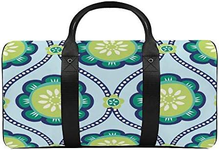 ボタンフラワーオギーライトブルー1 旅行バッグナイロンハンドバッグ大容量軽量多機能荷物ポーチフィットネスバッグユニセックス旅行ビジネス通勤旅行スーツケースポーチ収納バッグ