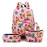 Girl Student School Backpacks+Hand Bag+Pen Bag 3Pcs Pattern Canvas Shoulder Bags (Pink)