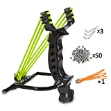 Outdoor Athletics Slingshot Kit Wisdoman, Adjustable Stainless Professional Hunting Catapult High Powerful Slingshots With Quality Rubber Bands and 50 Steel Balls (Black)