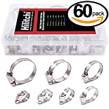 Hilitchi 60-Pcs 8 - 38mm Adjustable All Stainless Steel Worm Gear Hose Clamp Assortment Kit - All Stainless Steel Rust Proof