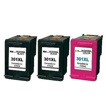 Ksera Remanufacturado HP 301 XL HP 301 Cartuchos de tinta de alto rendimiento Paquete de 3(2 negro, 1 tricolor) Compatible con HP Deskjet 1000 1010 ...